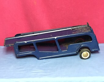Vintage Buddy L, Blue Car Carrier Trailer, Semi Trailer, Car Hauler