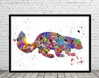 Wolverine, Wolverine print, watercolor Wolverine, wild animal, watercolor print, animal print, animal art  (2227b)