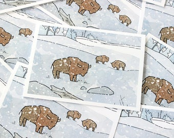 Winter Bison Holiday Card Set, American West Wildlife Card