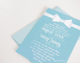 Robin's Egg Blue Wedding Invitation, White Bow Invitation Blue Wedding Invitation Aqua Invitation Teal Invitation & RSVP Card Bow Invitation
