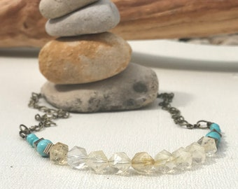 Citrine and Turquoise gemstone necklace Stone jewelry Unique boho necklace Empath protection Gift for her Adorn she jewelry
