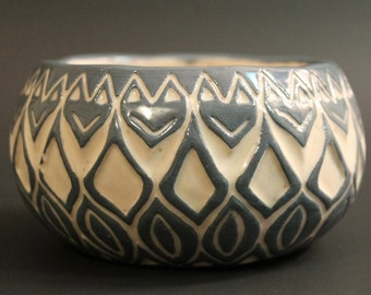 Carved Blue Bowl