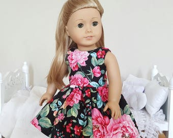 18 inch doll floral dress | skater dress | black floral