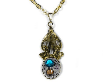 Steampunk Jewelry Necklace BENRUS Jeweled Watch Victorian Leaf Emerald Topaz Crystals Weddings Mothers Day - Jewelry by Steampunk Boutique