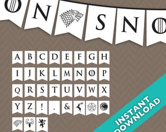 Printable White Game of Thrones Party Banner ... Use again and again for every event, baby shower, birthday, etc.