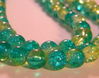 50 Crackle 2 tones-8 mm - yellow and green glass beads 4 PE235