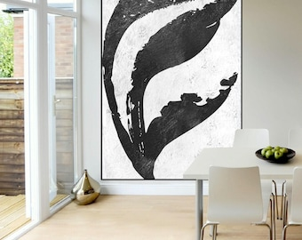 hand painted Large abstract Painting wall art canvas, original abstract painting, black and white large wall art canvas painting Signed
