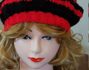 Red and Black Slouchy Beret Hat - Ready to be Shipped