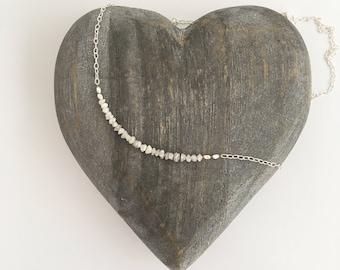 Raw Diamond necklace, April birthstone necklace, minimal, gift for her, mum, girlfriend, fiancé, wife, raw crystal, rough uncut diamonds
