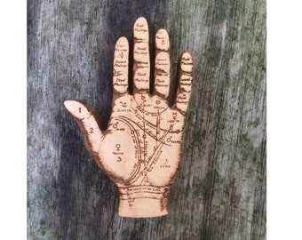 Palmistry Hand - Anatomical Jewellery - Wooden Brooch