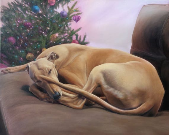 Custom Pet Portrait - Oil Painting - Dog Portrait - Greyhound - Dog Art - Perfect Gift Idea