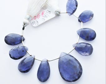 Iolite Gemstone Faceted Briolettes Qty 9