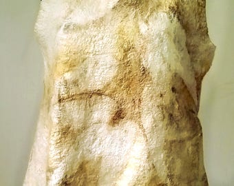 Eco Printed Nuno Felted Top Shirt Art to Wear Fibre Art Eco Fashion Sustainable