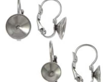 2-10pcs--Stainless Steel French Clip with 8mm Rivoli Cup (B39-15)