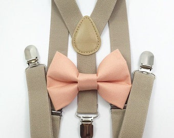 FREE DOMESTIC SHIPPING! Tan suspenders  + peach bow tie wedding pictures birthday formal wedding ring bearer photos