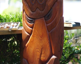 Hand Carved Wood Lion Face