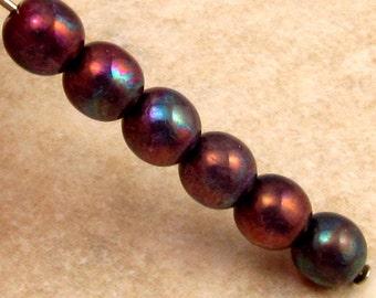 Czech Glass Druk Beads 6mm Round, Purple Mother Of Pearl 30 Pc. C277