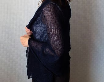 Knitted linen shawl - Linen scarf  - Lace shawl - Midnight Blue scarf / shawl / wrap - Knit blue shawl