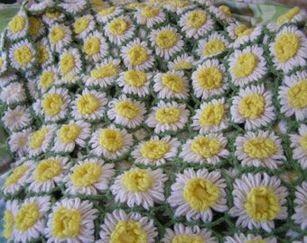 Crocheted daisy blanket afghan for couch or bed