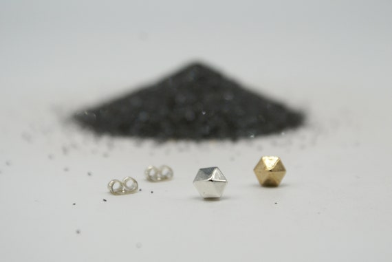 Hexa-gem stud earrings - bronze or silver