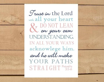 Proverbs 3:5-6 Trust in the Lord with All Your Heart. Print and Pop into Frame DIY Instant Download. Home Decoration.