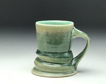 Wonky ceramic mug, green drip glaze, hand thrown mug, wheel thrown mug, pottery coffee cup, funky mug, handmade coffee mug, by Cayce Kolstad
