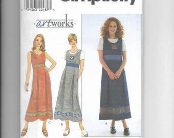 uncut Sewing Pattern Simplicity 8515 for Dress or Jumper and Knit Top, Sz 8-10-12