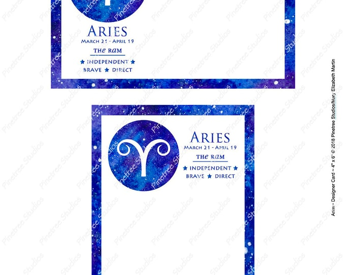 "Aries ~ Zodiac Sign Postcards (4"" x 6"" Landscape and Portrait) Digital Download ~ Printable / Journal Label / Card / E-Card / Ephemera"