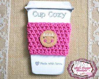 Gingerbread girl cozy - coffee cup cozy - travel cup cozy - cozy-  coffee cozy - pink cozy - christmas - gift - crochet cozy - crochet cozy