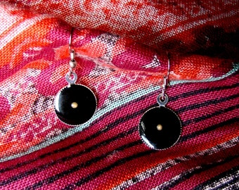 Black Mustard Seed Earrings... Bright Silver Mustard Seed Earrings - Mustard Seed Dangly Earrings - Mustard Seed Jewelry - Faith Jewelry