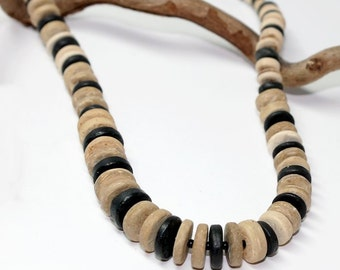 Mens earthy necklace, Coco nut,  boho, natural, beach, etchically, man, surfer, cool, gift, dad, wanderer, upcycled,  Free shipping!