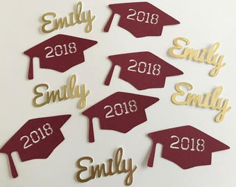 Personalized Graduation Caps and Names Confetti - Class of 2018