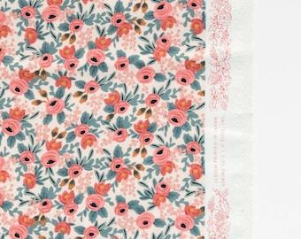Les Fleurs Peach Rosa Floral by Rifle Paper Co. for Cotton + Steel Fabrics 8004-01 - 100% Cotton Fabric