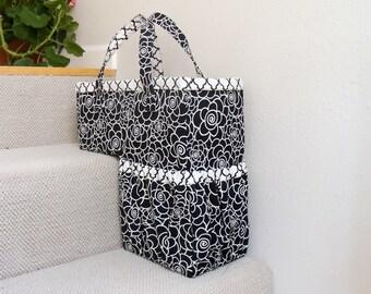 Sewing Pattern: Stair Basket, Paper format pattern, storage, organization, basket for steps, stair bin, housewarming, staircase, laundry