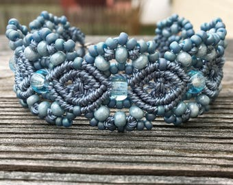 Micro-Macrame Cuff Bracelet. Modern Macrame. Beaded Cuff. Blue Bracelet. Light Blue Macrame Cuff. Statement Jewelry. Boutique Fashion Piece.