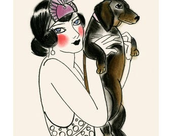 "Dachshund art print  sausage dog art Doxie dog art print - Isadora and Iggy 4"" X 6"" print - 4 for 3 SALE"