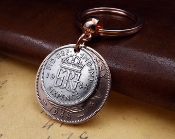 Genuine 1948 British Sixpence Ha'penny Double Coins Keychain 70th Birthday Gift