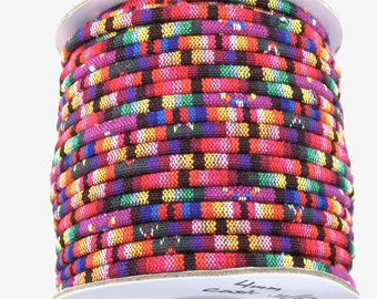 4mm tribal serape fabric cord in purple, magenta, pink, lavender, blue, green, red orange, yellow black and white. 5 feet