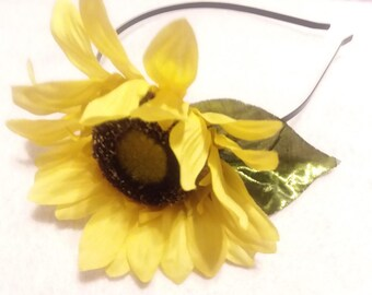 Yellow Sunflower on Black Metal Headband