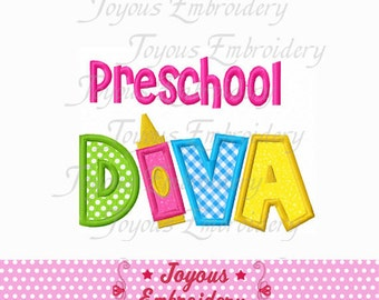 Instant Download Back To School Preschool Diva Applique Embroidery Design NO:1550