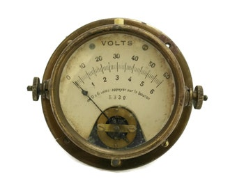 French Voltmeter. Antique Electrical Instrument. Electronic accessory. Collectible Measuring Device. Steampunk Decor.