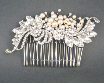 Vintage Wedding Hair Comb, Bridal Hair Accessories, Art Deco Ivory Swarovski Pearls Crystal Rhinestone Bridal Combs Wedding Headpieces H1026
