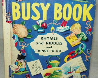 1952 Rand McNally Elf Book The Busy Book Rhymes and Riddles and Things to Do