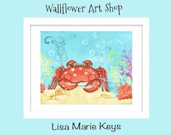 Children's Wall Art Print ~ Crab Decor ~ Bathroom Wall Art ~ Nautical Nursery ~ Ocean Art ~ Beach House Theme Decor ~ Red Crab ~ Painted Art