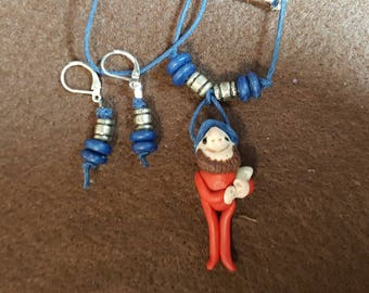 """Gnome """"Marcus"""" Necklace and Earrings"""