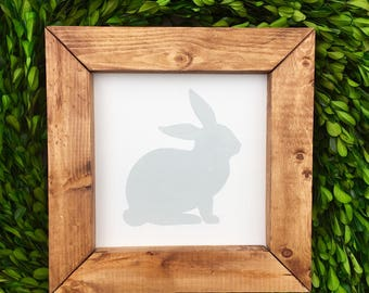 "Bunny Silhouette Sign 9"" x 9"" 
