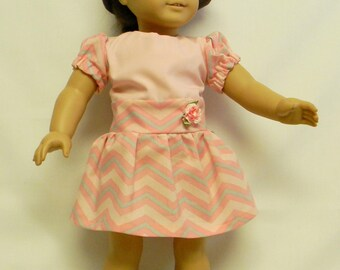 Pink Chevron Dress For 18 Inch Dolls Like The American Girl