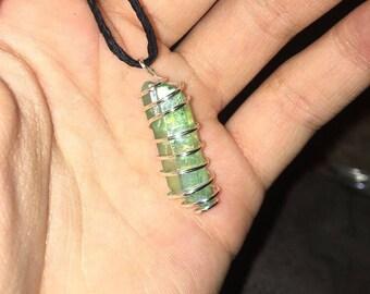 Aura Quartz Wire Wrapped Necklace