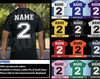 Add A Name and Number T-Shirt, Back Design Only; Type In Notes; Read Description For Instructions