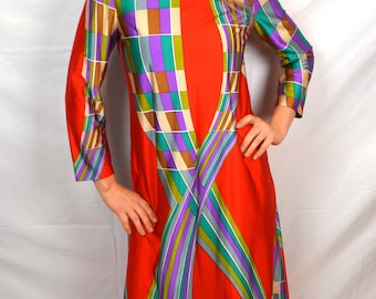 Vintage 1960s MAKO Liberty House Rainbow Geometric Hawaiian Summer Maxi Dress